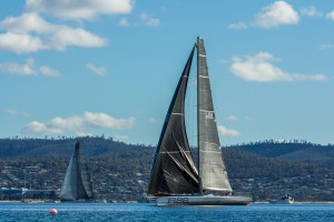 Landscape 2015 Sydney to Hobart Finish Ragamuffin 100 2nd and 3rd place Rambler 88 in Derwent