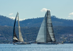 Sydney to Hobart 2nd and 3rd place tacking duel in Derwent Ragamuffin and Rambler 88