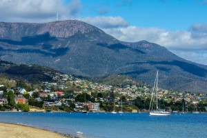 Hobart town at the base of Mount Wellington