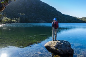 fishing a mountain lake, Tasmania