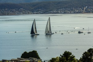 Sydney to Hobart 2nd and 3rd place tacking duel in Derwent Ragamuffin 100 and Rambler 88