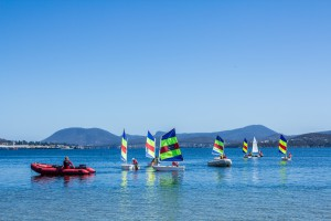 learning to sail on the Derwent River, Hobart Tasmania