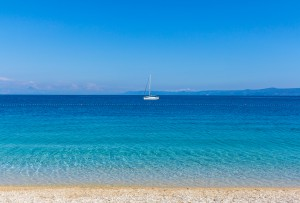 Brac, Croatia - May 07, 2016: yacht at Zlatni Rat beach, Croatia